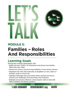 Family Roles and Responsibilities - Let's Talk: Runaway Prevention Curriculum
