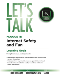 Internet Safety for Kids and Teens | Let's Talk Runaway Prevention Curriculum